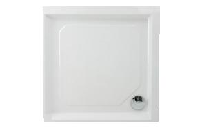 suihkukulman allas Interia S003, kivimassa, 80x80cm, valkoinen +1711C