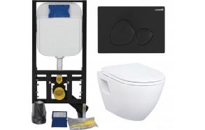 Seinä WC-istuinpaketti Creavit TP 325, täydellinen toimitus, - musta huuhtelupainike