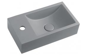 Pesuallas Interia Crest L, 400x220x100mm, vasen, harmaa pohjaventtiilillä