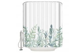 tekstiili suihkuverho Green Florals 183x200 cm + suihkuverhon rengassetti