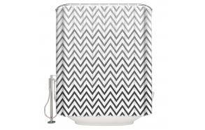tekstiili suihkuverho BW Zigzag 183x200 cm + suihkuverhon rengassetti