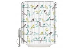 tekstiili suihkuverho Birdies 183x200 cm + suihkuverhon rengassetti