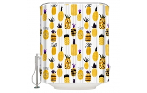 tekstiili suihkuverho Pineapples 183x200 cm + suihkuverhon rengassetti