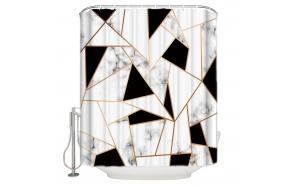 tekstiili suihkuverho BW Geometry 183x200 cm + suihkuverhon rengassetti