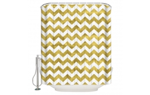 tekstiili suihkuverho Zigzag Gold 183x200 cm + suihkuverhon rengassetti