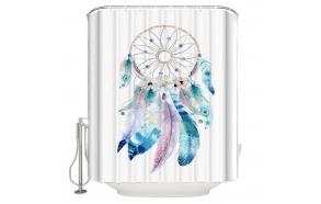 tekstiili suihkuverho Dreamer 183x200 cm + suihkuverhon rengassetti