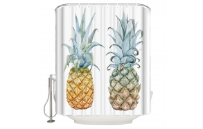 tekstiili suihkuverho Pineapples 2, 183x200 cm + suihkuverhon rengassetti
