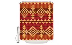 tekstiili suihkuverho Red Ethnic 183x200 cm + suihkuverhon rengassetti