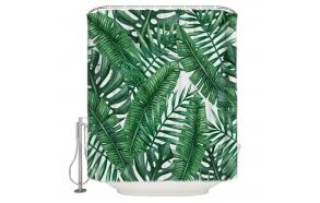 tekstiili suihkuverho Jungle 183x200 cm + suihkuverhon rengassetti