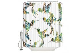tekstiili suihkuverho Birdies 2, 183x200 cm + suihkuverhon rengassetti