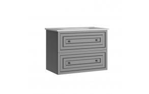 Kayra allaskaappi laatikoilla 80 cm harmaa + pesuallas SU080
