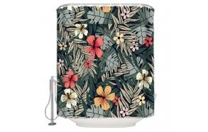 tekstiili suihkuverho Flower Garden 183x200 cm + suihkuverhon rengassetti