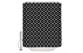 tekstiili suihkuverho Spades 183x200 cm + suihkuverhon rengassetti