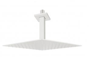 pystysuora kattosuihkun putki 200 mm + kattosuihku 200x200 mm, mattavalkoinen