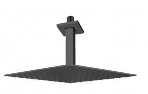 pystysuora kattosuihkun putki 200 mm + kattosuihku 200x200 mm, mattamusta