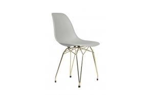 tuoli Alexis, vaaleanharmaa, kultaiset metallijalat