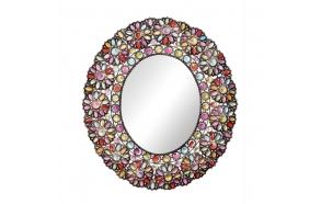 Metallikehyksinen peili värikkäin kukkakoristein