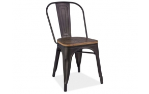 musta vintage metallituoli, puinen istuinosa