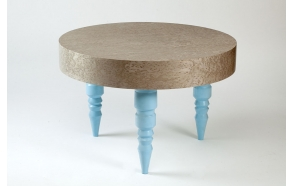 kahvipöytä, kaski+sininen RAL6034