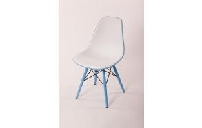 tuoli Alexis valkoinen/sininen, siniset jalat