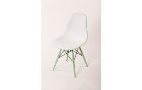 tuoli Alexis valkoinen/vihreä, vihreät jalat