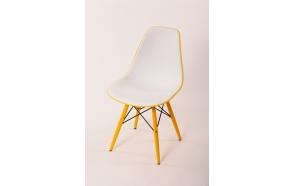 tuoli Alexis valkoinen/keltainen, keltaiset jalat