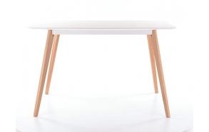 ruokapöytä Nordic, valkoinen/tammi, 140x80 cm