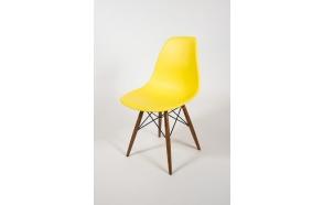 tuoli Alexis, keltainen, ruskeat pyökkijalat