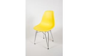 tuoli Alexis, keltainen, kromiset metallijalat