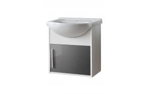 allaskaappi Interia Domino, 47x49x30 cm, harmaa/valkoinen