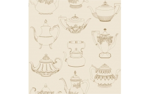 Tea Pots Sidewall, Gold / Beige