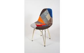 tuoli Alexis, patchwork, kultaiset metallijalat