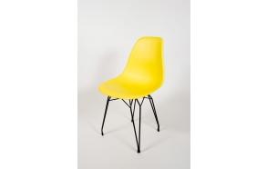 tuoli Alexis, keltainen, mustat metallijalat