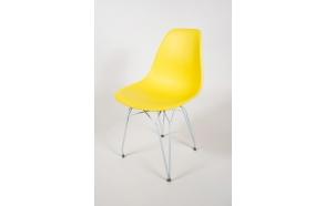 tuoli Alexis, keltainen, valkoiset metallijalat