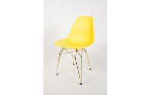 tuoli Alexis, keltainen, kultaiset metallijalat