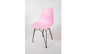 tuoli Alexis, vaaleanpunainen, mustat metallijalat