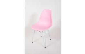 tuoli Alexis, vaaleanpunainen, valkoiset metallijalat