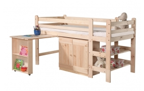 sänky, kirjoituspöytä, kaappi 190x90 cm, lakattu puu