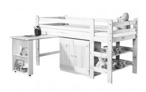sänky, kirjoituspöytä, kaappi 190x90 cm, valkoinen