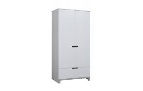 2-ovinen vaatekaappi Mini, valkoinen+harmaa
