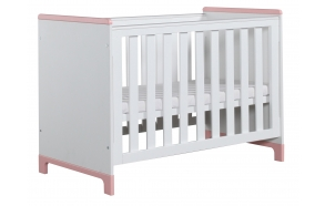 vauvansänky Mini, 120x60, sänkylaatikko ei kuulu hintaan, valkoinen+pinkki