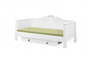sänky, 200x90, valkoinen+ruskea