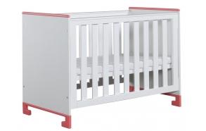 vauvansänky Toto, 120x60, sänkylaatikko ei kuulu hintaan, valkoinen+pinkki