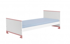 sänky, 200x90, valkoinen+pinkki