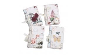 20 cm kukkakuvioisella kankaalla päällystetty muistikirja, 4 eri tyyliä