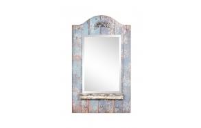 100 cm h puinen peili, koristeluin ja koukuin, antiikinsininen