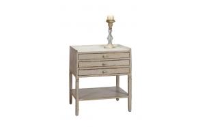 54x45x65 cm puinen pöytä 3 laatikolla, kerma