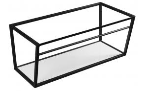metallinen pesuallasrakenne Ska, 90 cm, mattamusta, valkoinen MDF-hylly
