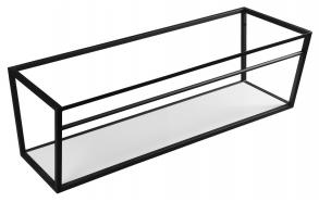 metallinen pesuallasrakenne Ska, 120 cm, mattamusta, valkoinen MDF-hylly