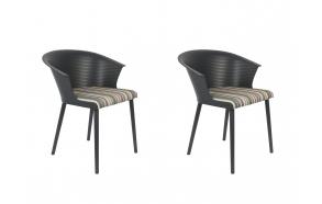 setti: 2 käsituin varustettua tuolia Olivia, tummanharmaa